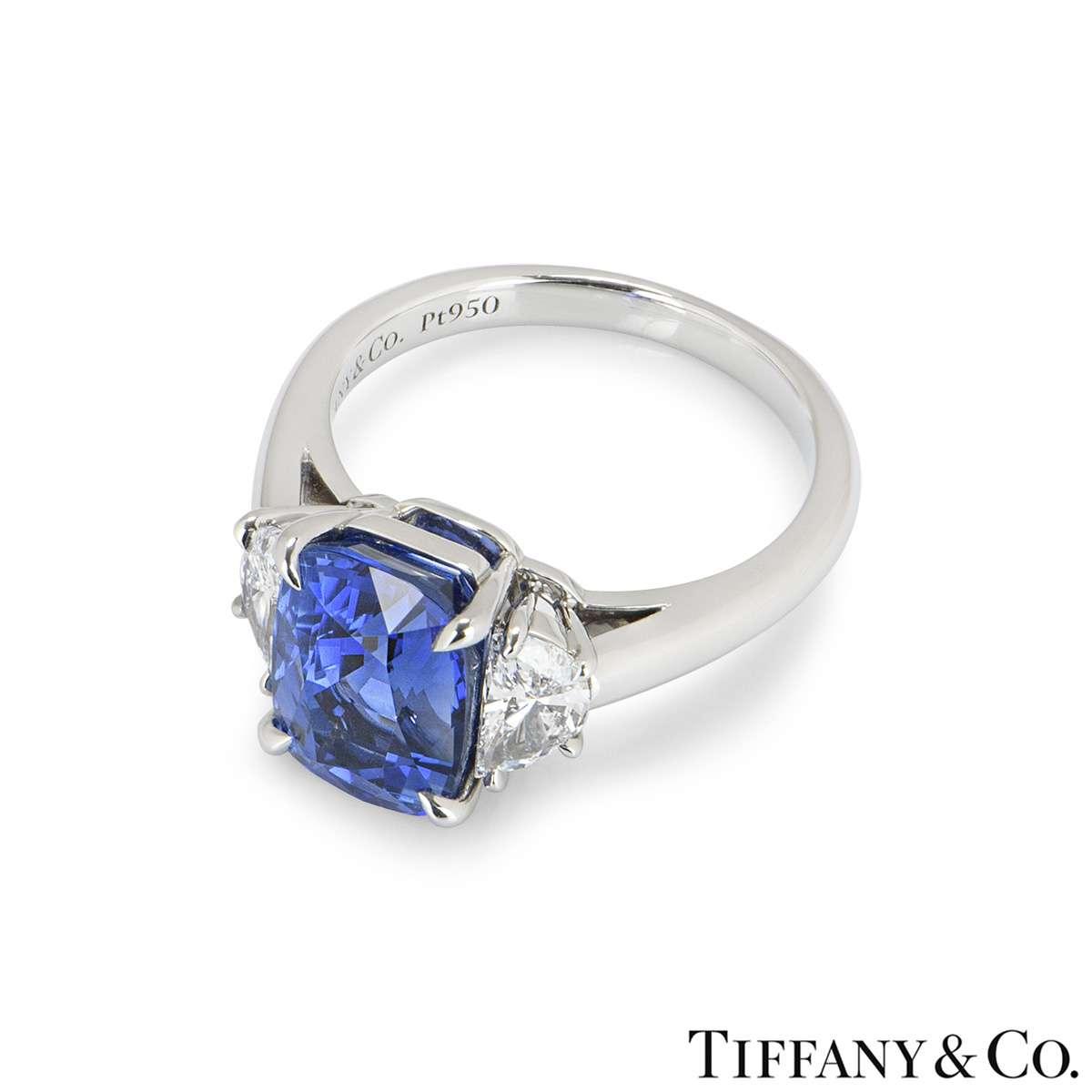 Tiffany & Co. Platinum Sapphire & Diamond Ring